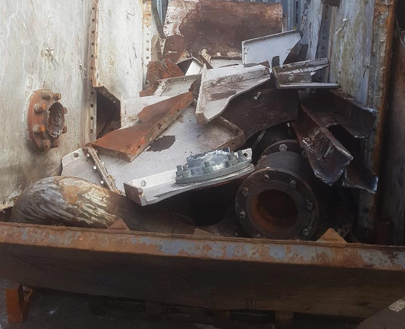 Skip hired and filled with scrap metal to trade in