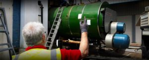 Industrial boiler being removed by Wakefield Waste Traders