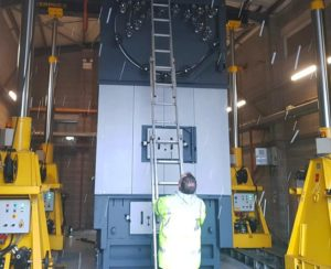 Industrial boiler being prepared for removal