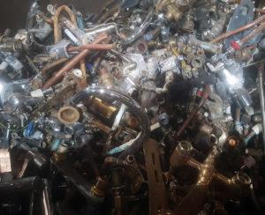 A pile of scrap brass