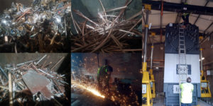 A collage of images showing scrap metal and an industrial boiler being removed