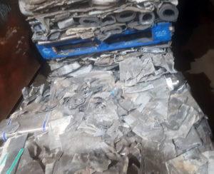 Lead scrap metal on pallets